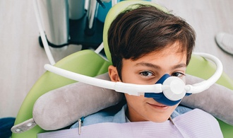 child being administered nitrous oxide
